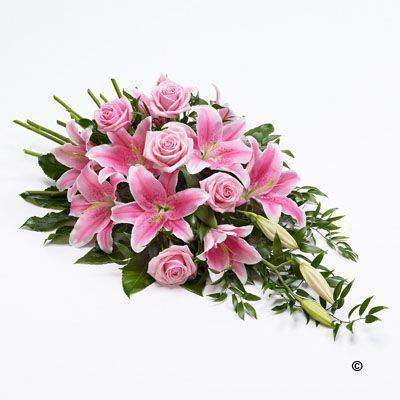 Large Classic Pink Rose and Pink Lily Spray | Funeral Flowers