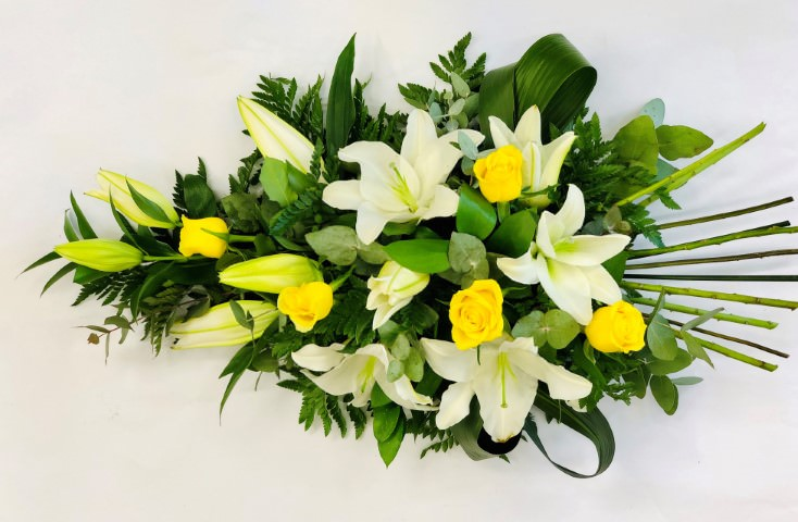 Large Classic Yellow and White Rose and Lily Spray | Funeral Flowers