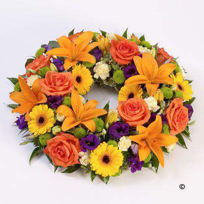 Rose and Lily Wreath - Vibrant Large: Booker Flowers and Gifts