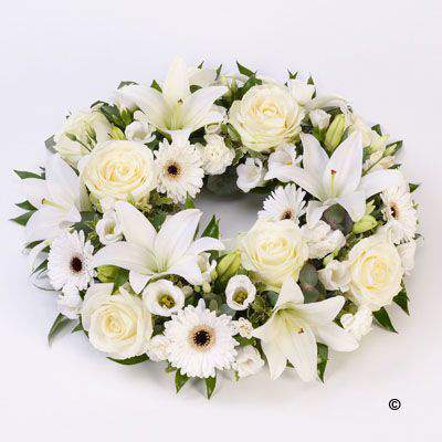 Rose and Lily Wreath - White: Booker Flowers and Gifts