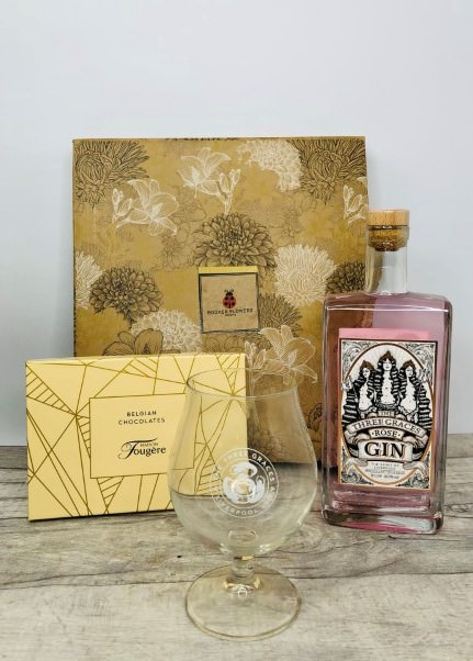 Rose Gin with Glass and Chocolates Gift Hamper