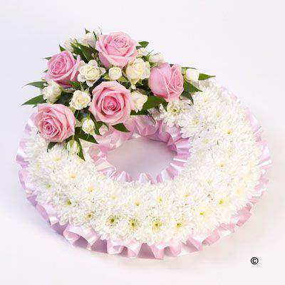 Traditional Wreath - White and Pink Large: Booker Flowers and Gifts