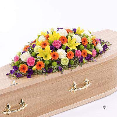 Vibrant Casket Spray Extra Large: Booker Flowers and Gifts