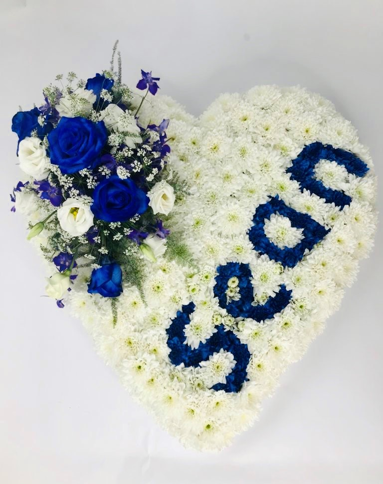 White Heart with Name Funeral Tribute: Booker Flowers and Gifts