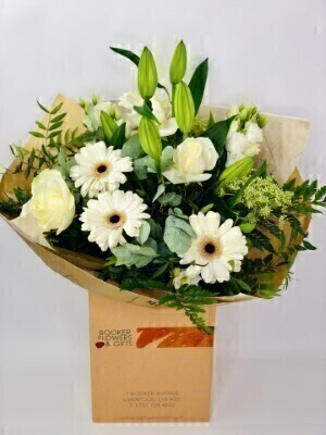 White Radiance Hand Tied Large: Booker Flowers and Gifts