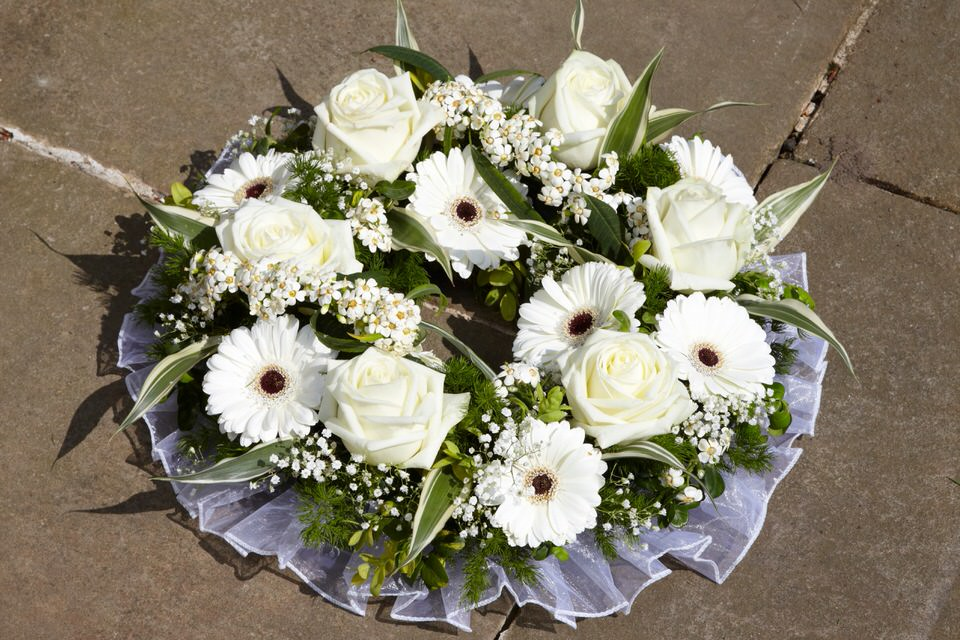 White Rose and Gerbera Wreath Funeral Flowers: Booker Flowers and Gifts