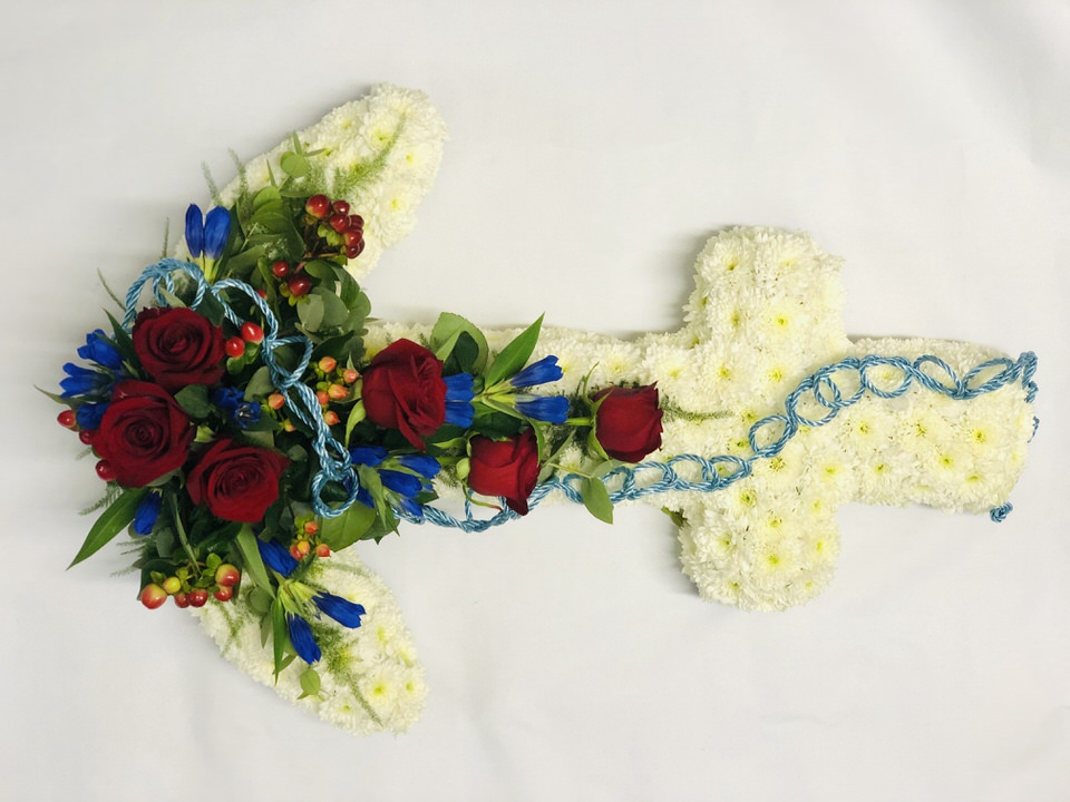 White and Red Anchor Funeral Flowers: Booker Flowers and Gifts